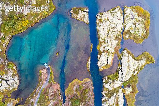Aerial view of Lake Thingvellir, Mid Atlantic Ridge, Iceland. - gettyimageskorea