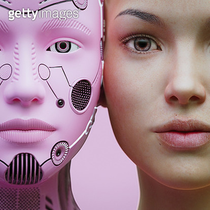 Female robot and human heads side by side - gettyimageskorea
