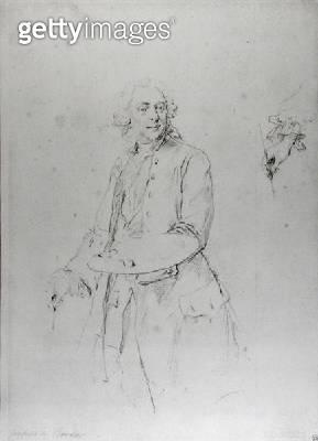 <b>Title</b> : Portrait of Francois Boucher (1703-70) (pencil on paper) (b/w photo)<br><b>Medium</b> : pencil on paper<br><b>Location</b> : Musee Bonnat, Bayonne, France<br> - gettyimageskorea
