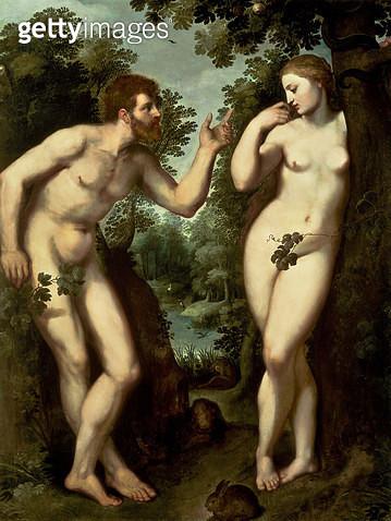 <b>Title</b> : Adam and Eve, c.1599 (oil on panel)<br><b>Medium</b> : oil on panel<br><b>Location</b> : Rubenshuis, Antwerp, Belgium<br> - gettyimageskorea