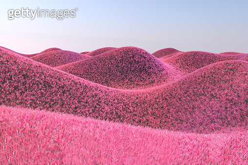 Surreal render landscape with furry hills and pink color. - gettyimageskorea