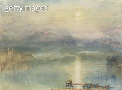 <b>Title</b> : The Lake of Lucerne, Moonlight, the Rigi in the Distance, c.1841 (w/c and bodycolour with scratching out)<br><b>Medium</b> : watercolour and bodycolour with scratching out<br><b>Location</b> : Whitworth Art Gallery, The University of Manche - gettyimageskorea