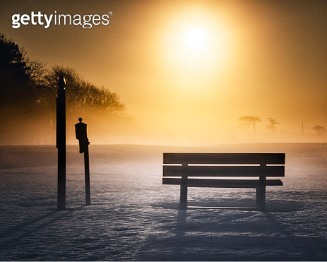 Winter Bench in Golden Sunrise at Timberpoint in East Islip, NY - gettyimageskorea