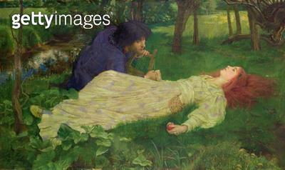 <b>Title</b> : Silent Noon, 1894 (oil on canvas)Additional Infopoem by Dante Gabriel Rossetti;<br><b>Medium</b> : oil on canvas<br><b>Location</b> : Leighton House Museum, Kensington & Chelsea, London, UK<br> - gettyimageskorea