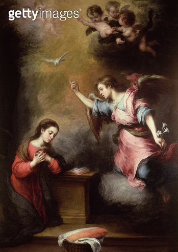 <b>Title</b> : The Annunciation, c.1665-70 (oil on canvas)<br><b>Medium</b> : oil on canvas<br><b>Location</b> : Wallace Collection, London, UK<br> - gettyimageskorea