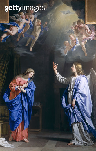 <b>Title</b> : The Annunciation, c.1648 (oil on canvas)<br><b>Medium</b> : oil on canvas<br><b>Location</b> : Wallace Collection, London, UK<br> - gettyimageskorea