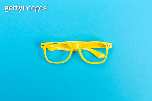 Glasses on a bright blue background - gettyimageskorea