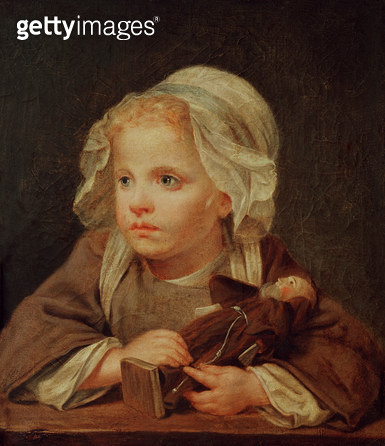 <b>Title</b> : Girl with a Doll (oil on canvas)<br><b>Medium</b> : oil on canvas<br><b>Location</b> : Musee Ingres, Montauban, France<br> - gettyimageskorea