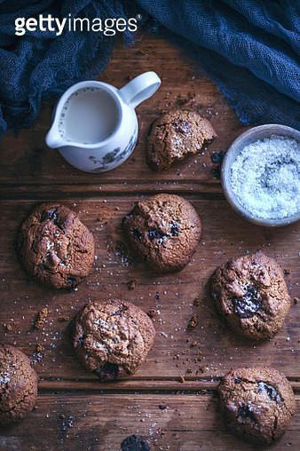 Coconut flour chocolate chip cookies on a rustic wooden table - gettyimageskorea