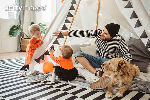 Playing in tent for Halloween - gettyimageskorea