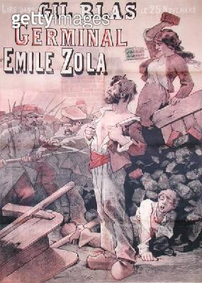 <b>Title</b> : Poster advertising the publication of 'Germinal' by Emile Zola (1840-1902) in 'Gil Blas', 25th November 1878 (litho)<br><b>Medium</b> : <br><b>Location</b> : Musee de la Ville de Paris, Musee Carnavalet, Paris, France<br> - gettyimageskorea