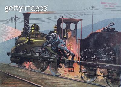 <b>Title</b> : Fight between Jacques Lantier (1840-70) and Pecqueux on the train, Le Lison, scene from 'La Bete Humaine' by Emila Zola (1840-19<br><b>Medium</b> : <br><b>Location</b> : Musee de la Ville de Paris, Musee Carnavalet, Paris, France<br> - gettyimageskorea