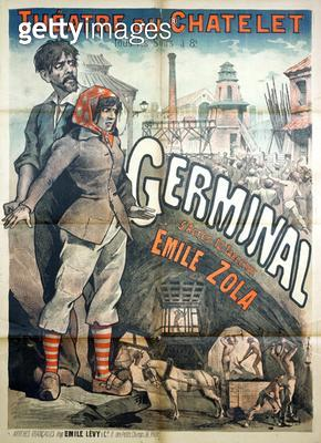 <b>Title</b> : Poster advertising a performance of the play 'Germinal' by Emile Zola (1840-1902) at the Theatre du Chatelet (litho)<br><b>Medium</b> : <br><b>Location</b> : Private Collection<br> - gettyimageskorea