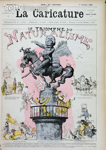 <b>Title</b> : 'The Triumph of Naturalism', caricature of Emile Zola (1840-1902) illustration from 'La Caricature', 7th February 1880 (litho)Ad<br><b>Medium</b> : <br><b>Location</b> : Bibliotheque des Arts Decoratifs, Paris, France<br> - gettyimageskorea