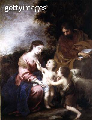 <b>Title</b> : The Holy Family with the Infant St. John the Baptist, c.1670 (oil on canvas)<br><b>Medium</b> : oil on canvas<br><b>Location</b> : Wallace Collection, London, UK<br> - gettyimageskorea