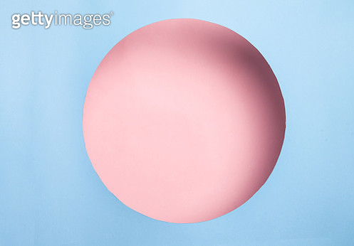 Round frame from blue paper - gettyimageskorea