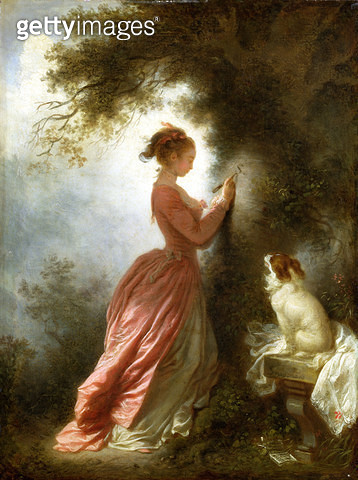 <b>Title</b> : The Souvenir, c.1776-78 (oil on walnut panel)Additional InfoLe chiffre d'amour;<br><b>Medium</b> : oil on walnut panel<br><b>Location</b> : Wallace Collection, London, UK<br> - gettyimageskorea