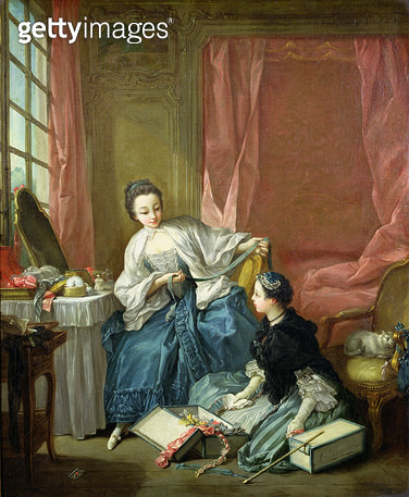 <b>Title</b> : The Modiste, c.1746 (oil on canvas)Additional InfoLa marchande des modes: Le matin;<br><b>Medium</b> : oil on canvas<br><b>Location</b> : Wallace Collection, London, UK<br> - gettyimageskorea