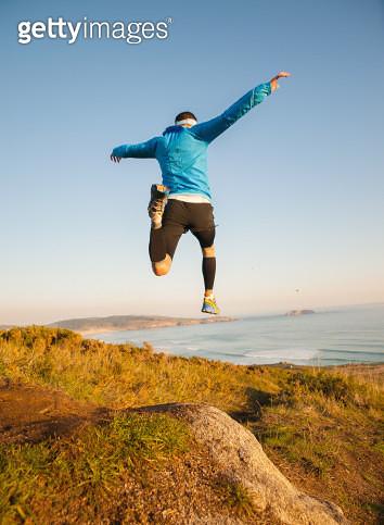 Trail man running jumping - gettyimageskorea