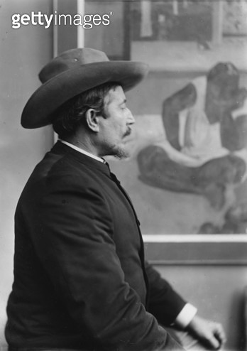 Paul Gauguin (1848-1903) in front of his canvases, c.1893 (b/w photo) - gettyimageskorea
