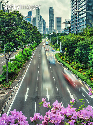 Singapore skyline as seen from the Nicoll Highway - gettyimageskorea