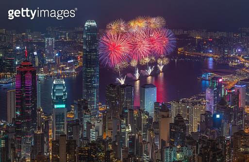 2018 Chinese National day fireworks in Hong Kong - gettyimageskorea