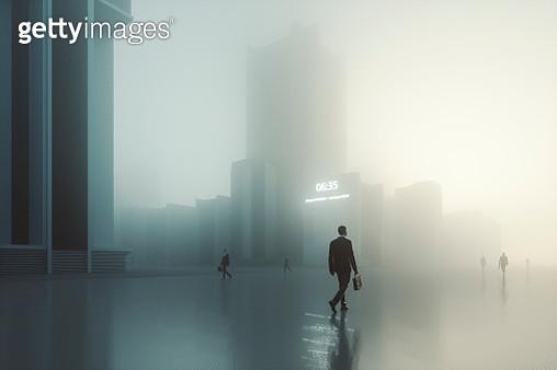 Futuristic dystopian city with walking businessmen - gettyimageskorea