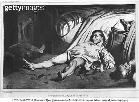 <b>Title</b> : Rue Transnonain, illustration from 'L'Association Mensuelle', 15th April 1834 (litho) (b/w photo)<br><b>Medium</b> : lithograph<br><b>Location</b> : Bibliotheque Nationale, Paris, France<br> - gettyimageskorea
