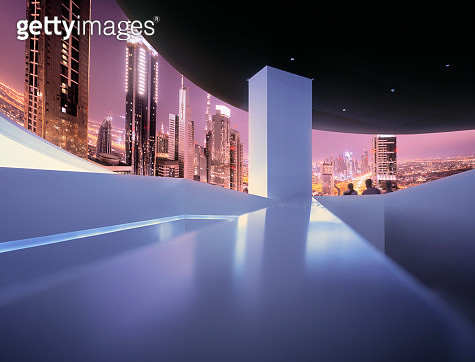 Circular projection of illuminated Dubai skyline - gettyimageskorea