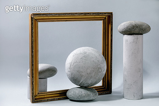 Geometric objects and stones - gettyimageskorea