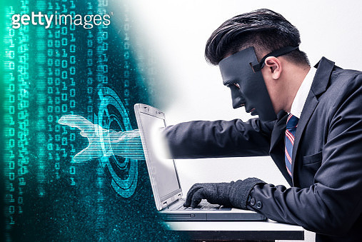 The abstract image of the hacker reach hand through a laptop screen for stealing the data as binary code. the concept of cyber attack, virus, malware, illegally and cyber security. - gettyimageskorea