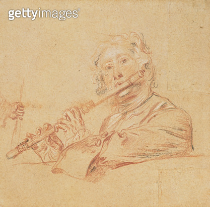 Man Playing a Flute/ c.1710 (`aux trois crayons' on buff paper) - gettyimageskorea