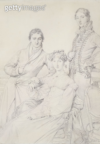 <b>Title</b> : Mr. and Mrs. Woodhead with Rev. Henry Comber as a Youth, 1816 (pencil on paper)<br><b>Medium</b> : <br><b>Location</b> : <br> - gettyimageskorea