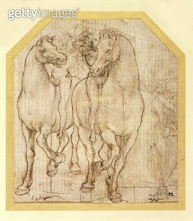 <b>Title</b> : Two Horsemen (drawing, metal point)<br><b>Medium</b> : metal point<br><b>Location</b> : Fitzwilliam Museum, University of Cambridge, UK<br> - gettyimageskorea