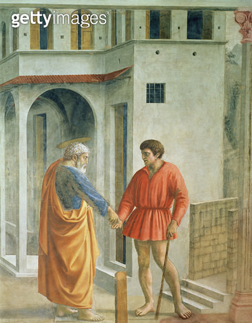 Tribute Money (St. Peter pays the Tax Collector - detail of 31642)/ c.1427 (fresco) - gettyimageskorea