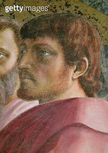 Tribute Money (Head of an Apostle - detail of 31642) c.1427 (fresco) - gettyimageskorea