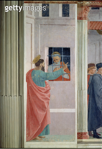 <b>Title</b> : St. Peter Visited in Jail by St. Paul, c.1480 (fresco)<br><b>Medium</b> : <br><b>Location</b> : Brancacci Chapel, Santa Maria del Carmine, Florence, Italy<br> - gettyimageskorea