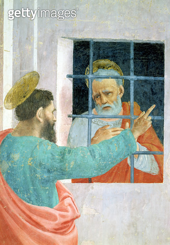 <b>Title</b> : St. Peter Visited in Jail by St. Paul, c.1480 (fresco) (detail of 63300)<br><b>Medium</b> : <br><b>Location</b> : Brancacci Chapel, Santa Maria del Carmine, Florence, Italy<br> - gettyimageskorea