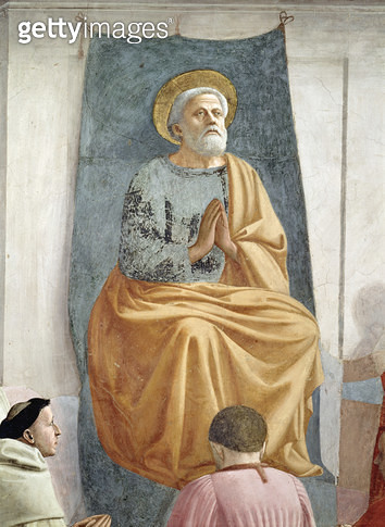 <b>Title</b> : St. Peter Enthroned as First Bishop of Antioch, c.1427 (detail of 63302) (fresco)<br><b>Medium</b> : <br><b>Location</b> : Brancacci Chapel, Santa Maria del Carmine, Florence, Italy<br> - gettyimageskorea