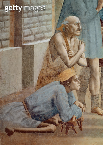 <b>Title</b> : St. Peter Healing With His Shadow (detail of the Cripple), c.1427 (see also 60321 & 63310) (fresco)<br><b>Medium</b> : <br><b>Location</b> : Brancacci Chapel, Santa Maria del Carmine, Florence, Italy<br> - gettyimageskorea