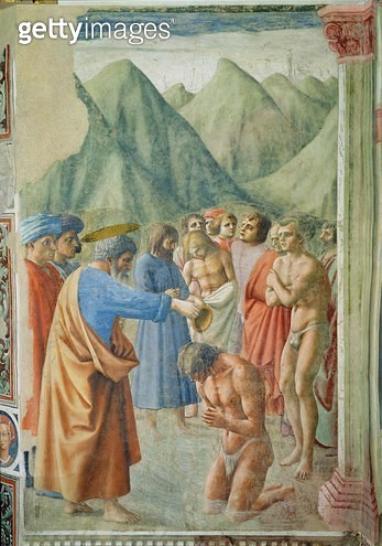 St. Peter Baptising the Neophytes/ c.1427 (fresco) - gettyimageskorea
