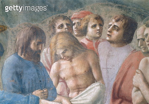 <b>Title</b> : St. Peter Baptising the Neophytes (Detail of faces in the crowd), c.1427 (fresco) (see also 63311)<br><b>Medium</b> : <br><b>Location</b> : Brancacci Chapel, Santa Maria del Carmine, Florence, Italy<br> - gettyimageskorea