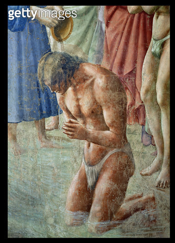 <b>Title</b> : St. Peter Baptising the Neophytes, detail of the neophyte, c.1427 (fresco) (see also 63311)<br><b>Medium</b> : <br><b>Location</b> : Brancacci Chapel, Santa Maria del Carmine, Florence, Italy<br> - gettyimageskorea