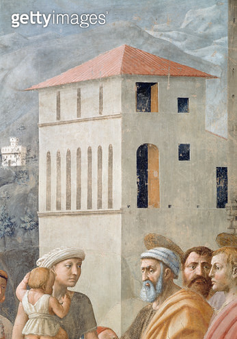 <b>Title</b> : St. Peter Distributing the Common Goods of the Church, and the Death of Ananias, (Detail of the background architecture), c.1427<br><b>Medium</b> : <br><b>Location</b> : Brancacci Chapel, Santa Maria del Carmine, Florence, Italy<br> - gettyimageskorea