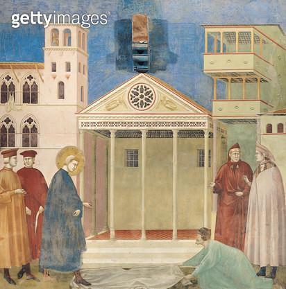 <b>Title</b> : St. Francis Honoured by a Simple Man, 1297-99 (fresco)<br><b>Medium</b> : fresco<br><b>Location</b> : San Francesco, Upper Church, Assisi, Italy<br> - gettyimageskorea