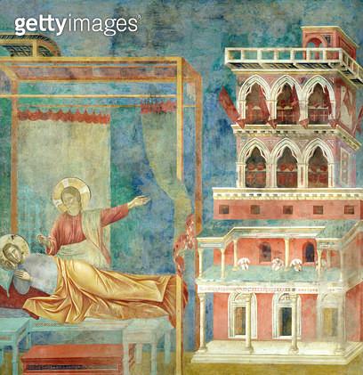 <b>Title</b> : St. Francis Dreams of a Palace full of Weapons, 1297-99 (fresco)<br><b>Medium</b> : fresco<br><b>Location</b> : San Francesco, Upper Church, Assisi, Italy<br> - gettyimageskorea