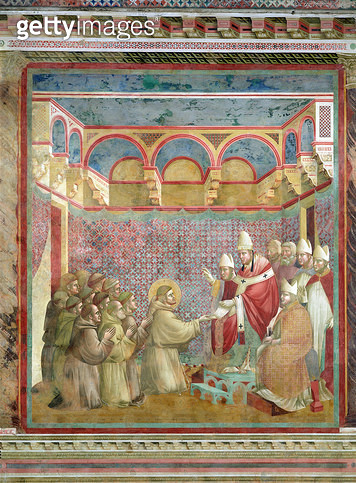 <b>Title</b> : St. Francis Receives Approval of his `Regula Prima' from Pope Innocent III (1160-1216) in 1210, 1297-99 (fresco)<br><b>Medium</b> : fresco<br><b>Location</b> : San Francesco, Upper Church, Assisi, Italy<br> - gettyimageskorea