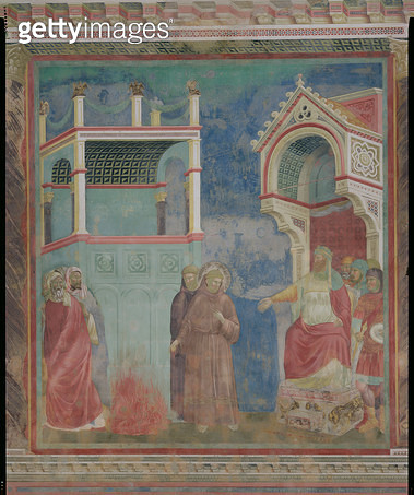 <b>Title</b> : The Trial by Fire, St. Francis offers to walk through fire, to convert the Sultan of Egypt in 1219, 1296-97 (fresco)<br><b>Medium</b> : fresco<br><b>Location</b> : San Francesco, Upper Church, Assisi, Italy<br> - gettyimageskorea