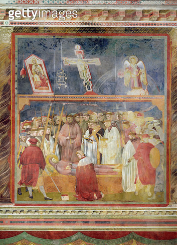 <b>Title</b> : St. Jerome Checking the Stigmata on the Body of St. Francis, 1296-97 (fresco)Additional Infoverification des stigmates par Jerom<br><b>Medium</b> : fresco<br><b>Location</b> : San Francesco, Upper Church, Assisi, Italy<br> - gettyimageskorea
