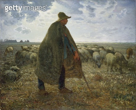 <b>Title</b> : Shepherd Tending His Flock (oil on canvas)<br><b>Medium</b> : oil on canvas<br><b>Location</b> : Brooklyn Museum of Art, New York, USA<br> - gettyimageskorea